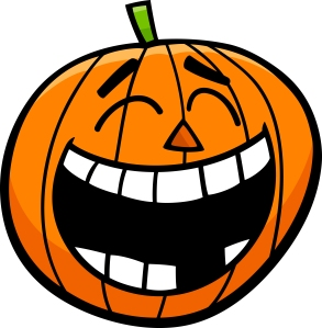 Cartoon Illustration of Laughing Jack Lantern Halloween Pumpkin