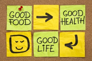 healthy lifestyle concept - good food, health and life - reminder words handwritten of sticky notes